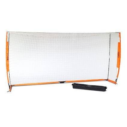 7x14 Soccer Bownet on White Background with Roller Carry Bag