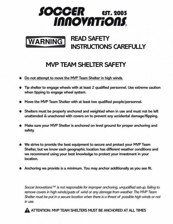 MVP Team Shelter Safety Warnings