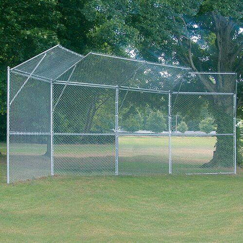 4-Panel Baseball/Softball Backstop with 2-Center Overhangs and 2-Wing Overhangs