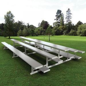 3-Row Back-to-Back Aluminum Bleachers with Single Foot Planks