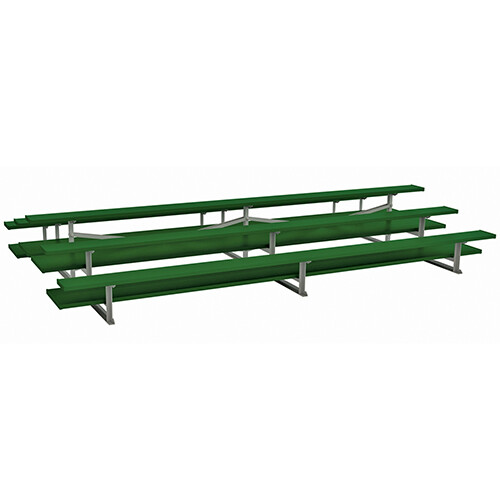 3-Row Back-to-Back Powder Coated Bleachers with Double Foot Planks