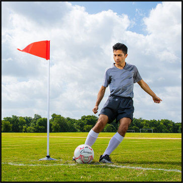 Premium Indoor/Outdoor Corner Flags with Rubber Base on Grass
