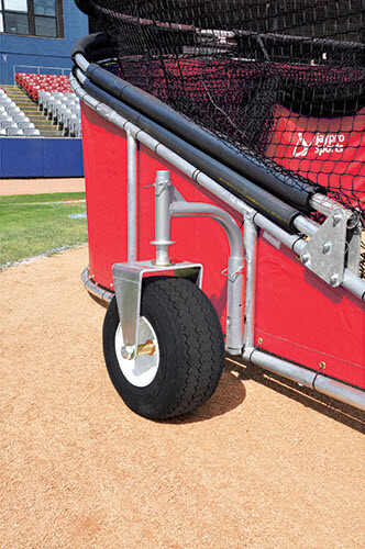 Red Big Bomber Elite Batting Cage - 18 inch oversized Turf Friendly Tires