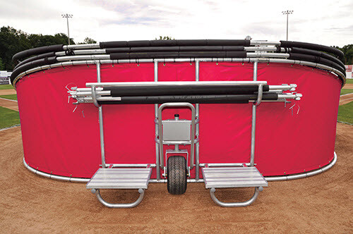 Red Big Bomber Elite Batting Cage - Folded Down