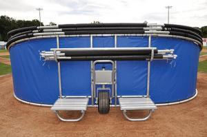 Royal Blue Big Bomber Elite Batting Cage - Folded Down