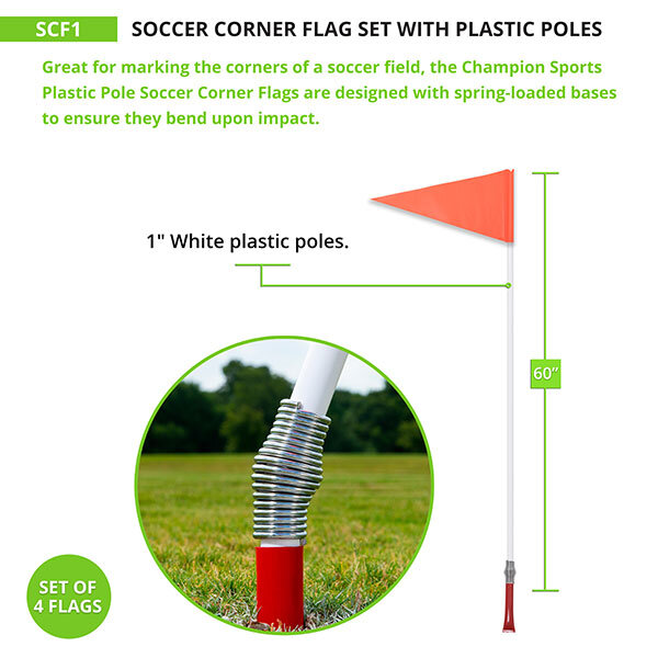 Corner Flag with Plastic Pole and Spring Base - Measurement
