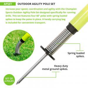 Outdoor Agility Poles with Spike Close-up