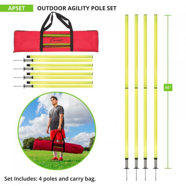 Outdoor Agility Poles with Carry Bag