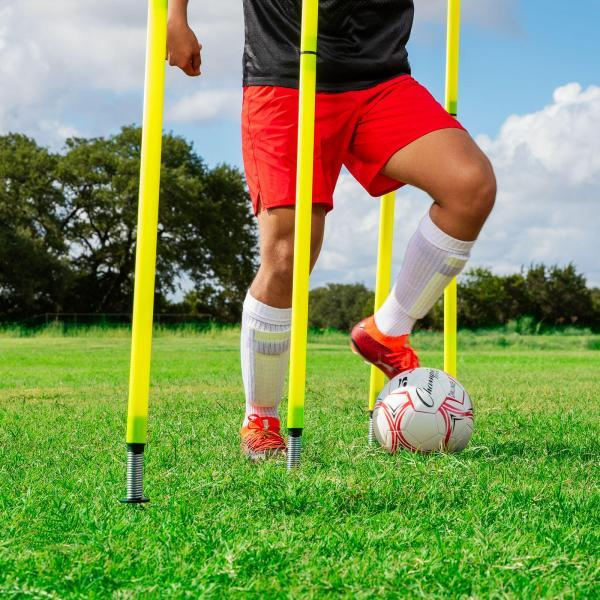 Outdoor Agility Poles with Soccer Player