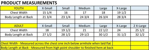 Morton Reversible Vest Measurements