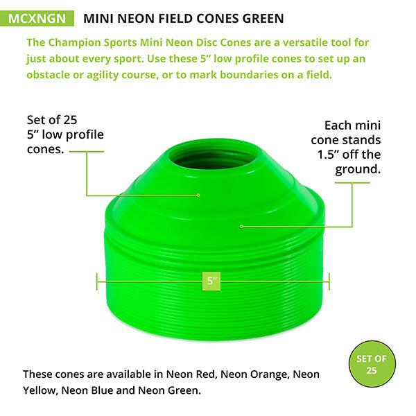 Neon Green Mini Cone Measurements
