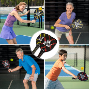 Rhino 2-Player Edge Wooden Pickleball Paddle with players