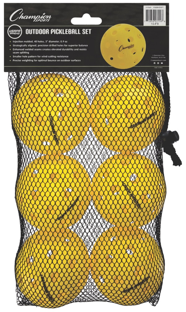 Champion Injection Molded Outdoor Pickleballs Retail Packaging